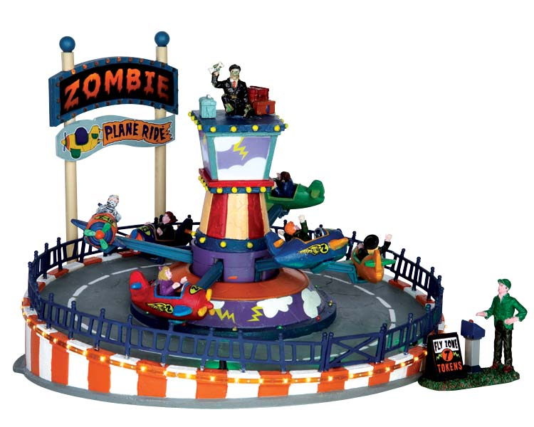 Lemax Spooky Town Zombie Plane Ride with Adaptor # 64046