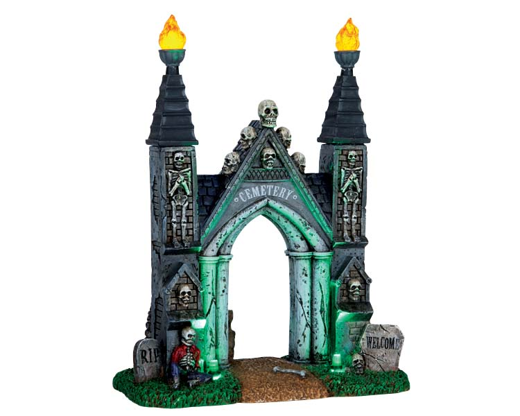 Lemax Spooky Town Cemetery Gate Battery Operated # 64048