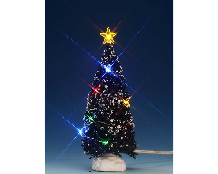 Lemax Village Collection Multi Color Light Evergreen Tree Medium 6 inch Battery Operated # 74266