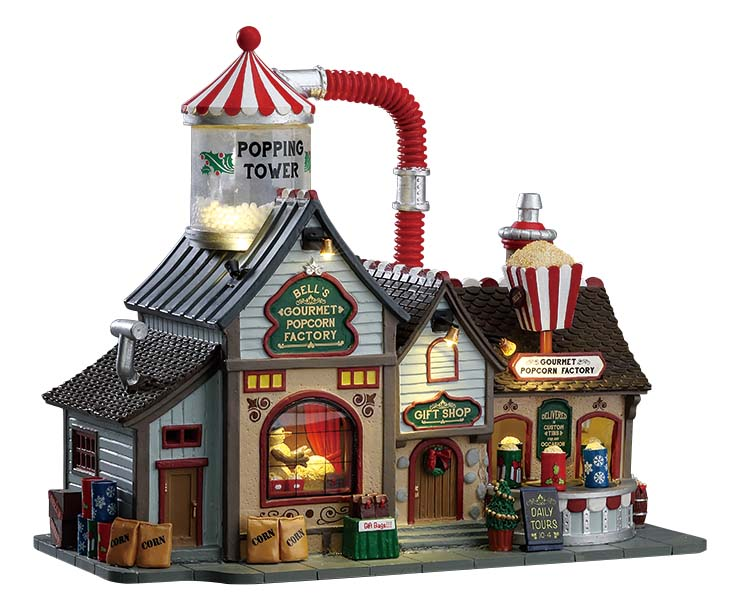 Lemax Village Collection Bell's Gourmet Popcorn Factory with Adaptor # 75188