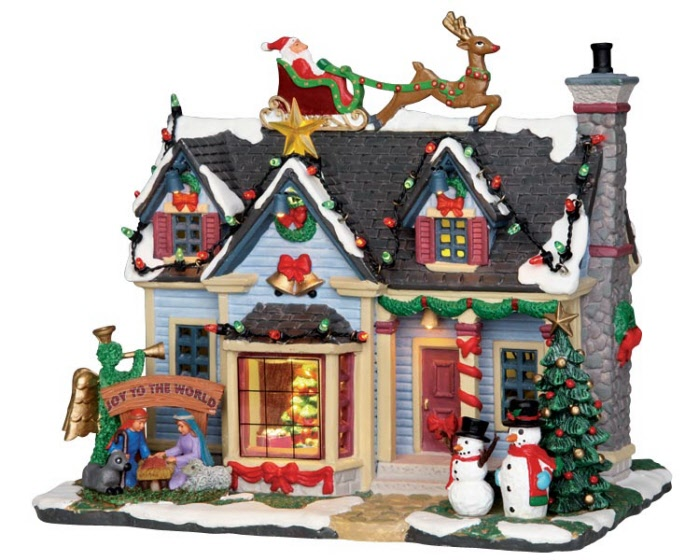 Lemax village collection best decorated house with adaptor - Petite maison de noel decoration ...