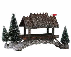 Lemax Village Collection Wooden Bridge With Trees # 14618