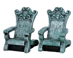 Lemax Spooky Town Tombstone Chairs Set of 2 # 34615