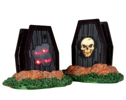 Lemax Spooky Town Light Up Coffins Set of 2 Battery Operated # 34621