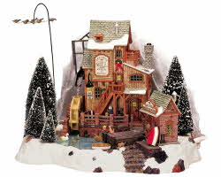Lemax Village Collection Oak Creek Grist Mill with Adaptor # 36321