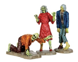 Lemax Spooky Town Walking Zombies Set of 3 # 42219
