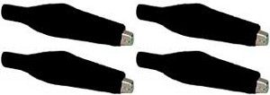 Four Alligator Clips with Insulator Boots - Black