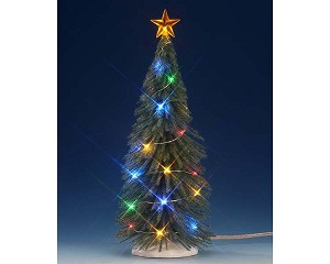 Lemax Village Collection Chasing Multi Color Light Spruce Tree Large 9 inch Battery Operated # 74265