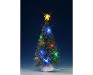 Lemax Village Collection Multi Color Light Spruce Medium 6 inch Battery Operated # 74268