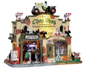 Lemax Spooky Town The Chop Shop Garage and Salvage Co with Adaptor # 25323