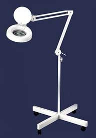 Fluorescent 8 Diopter Magnifying Lamp with Lens Cover and 4 Castor Stand White
