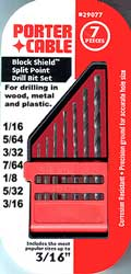 Porter Cable Black Sheild Split Point 7 Piece Drill Bit Set