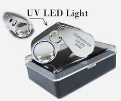 UV Illuminated Chrome 10x Round 21mm Loupe