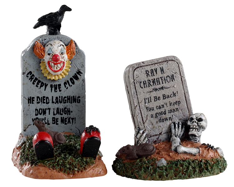Lemax Spooky Town Crazy Headstones Set of 2 # 04711