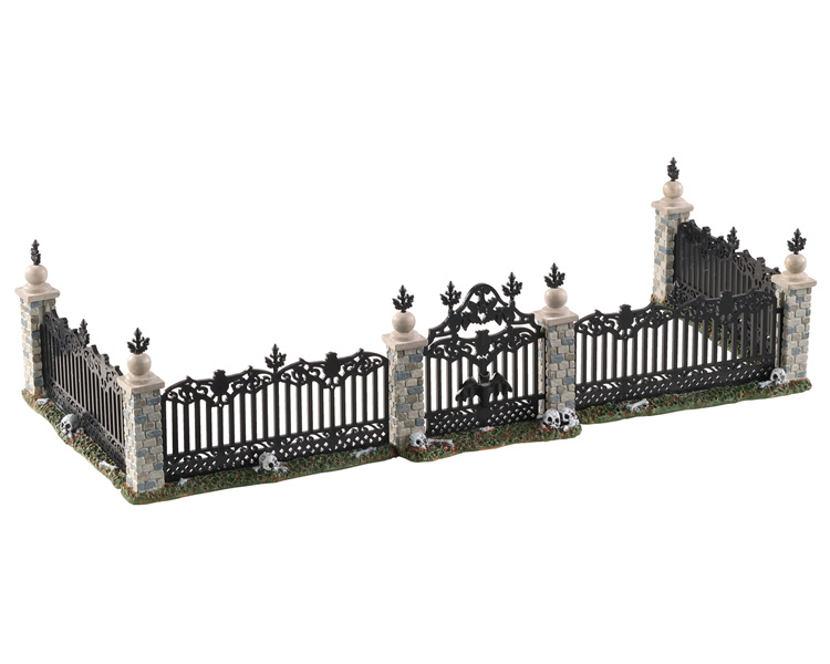 Lemax Spooky Town Bat Fence Gate Set of 5 # 04713
