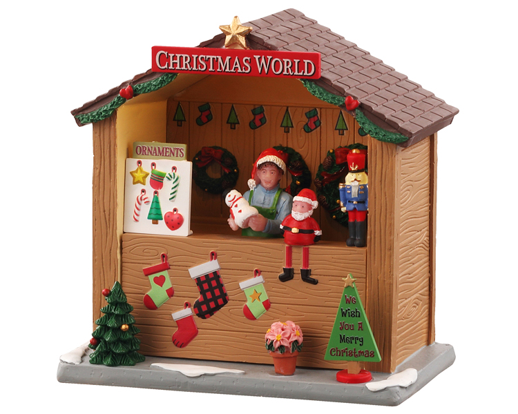 **NO OUTER BOX** Lemax Village Collection Christmas World Booth Battery Operated # 04734 **READ DESCRIPTION**