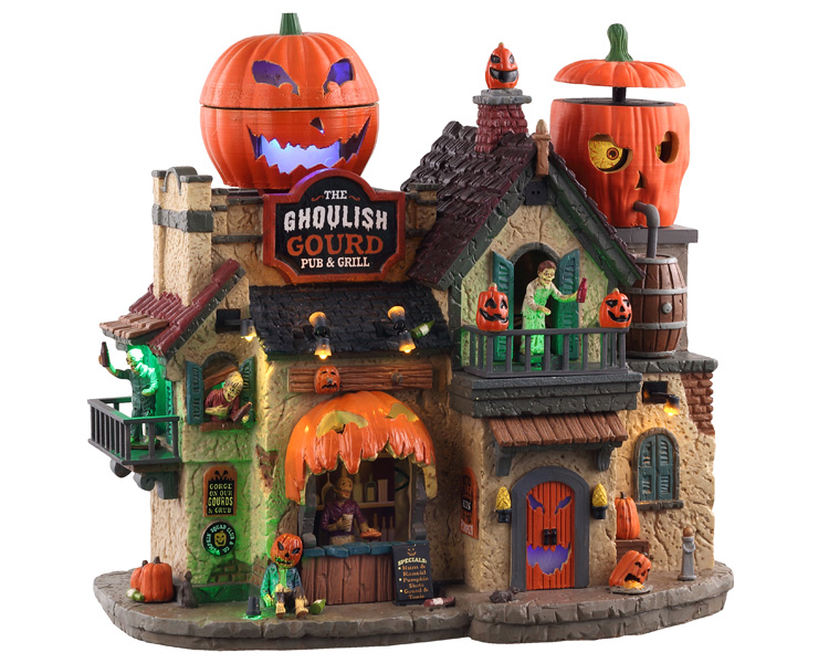 Lemax Spooky Town The Ghoulish Gourd Pub & Grill with Adaptor # 05602