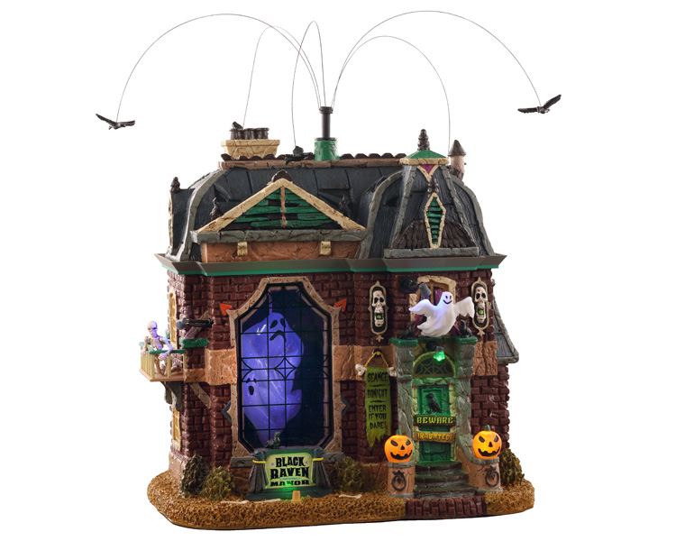 Lemax Spooky Town Black Raven Manor with Adaptor # 05605
