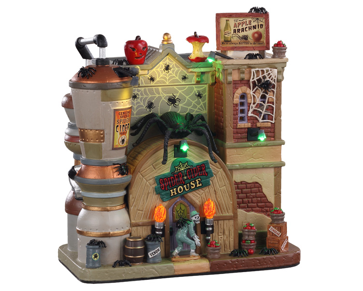 Lemax Spooky Town Spider Cider House with Adaptor # 05606