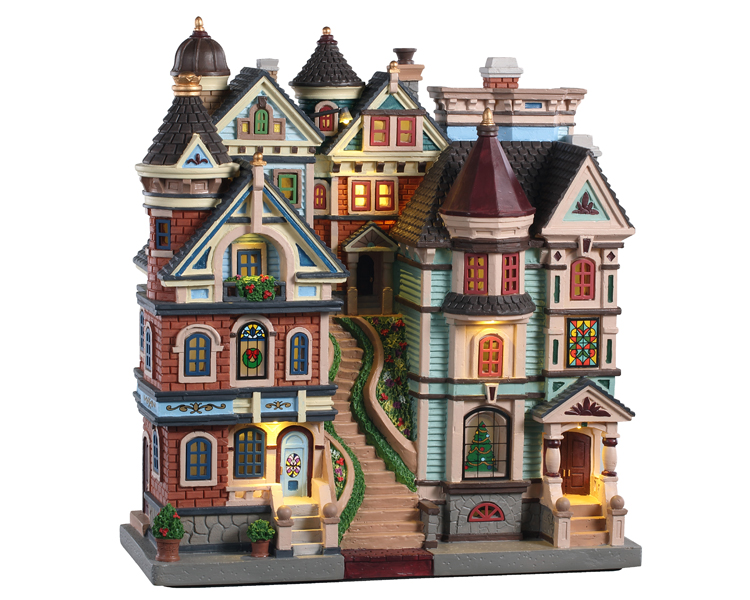 Lemax Village Collection Houses On A Hill Facade Battery Operated # 05617
