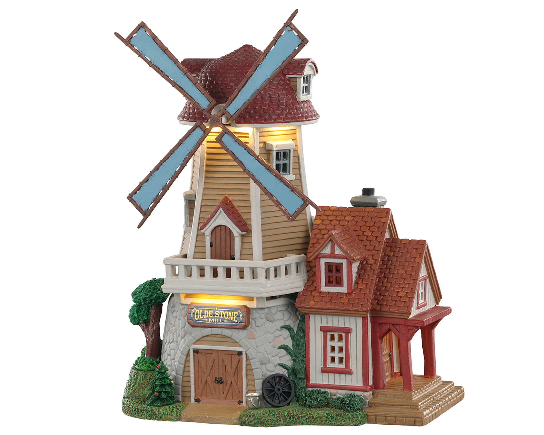 Lemax Village Collection Olde Stone Mill with Adaptor # 05637