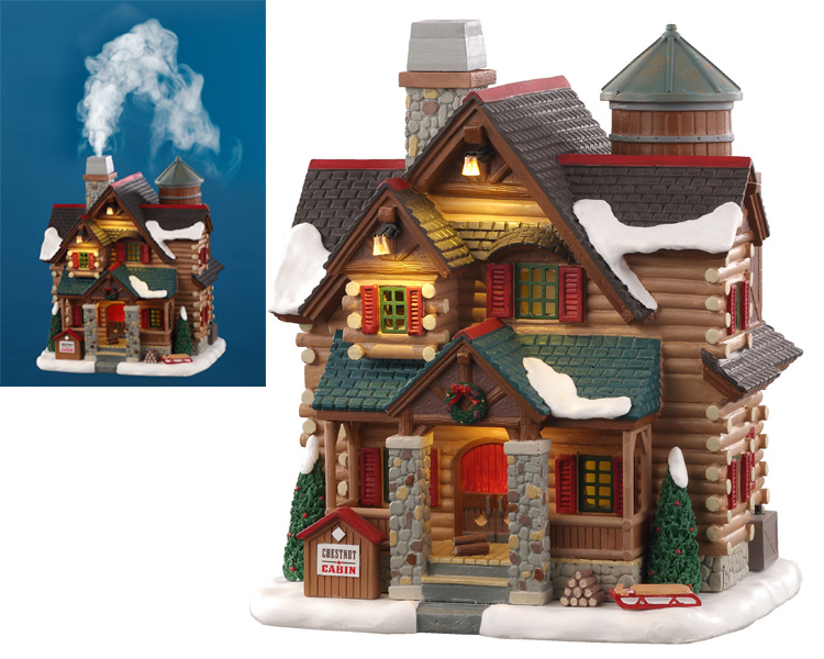 Lemax Village Collection Chestnut Cabin with Adaptor # 05641