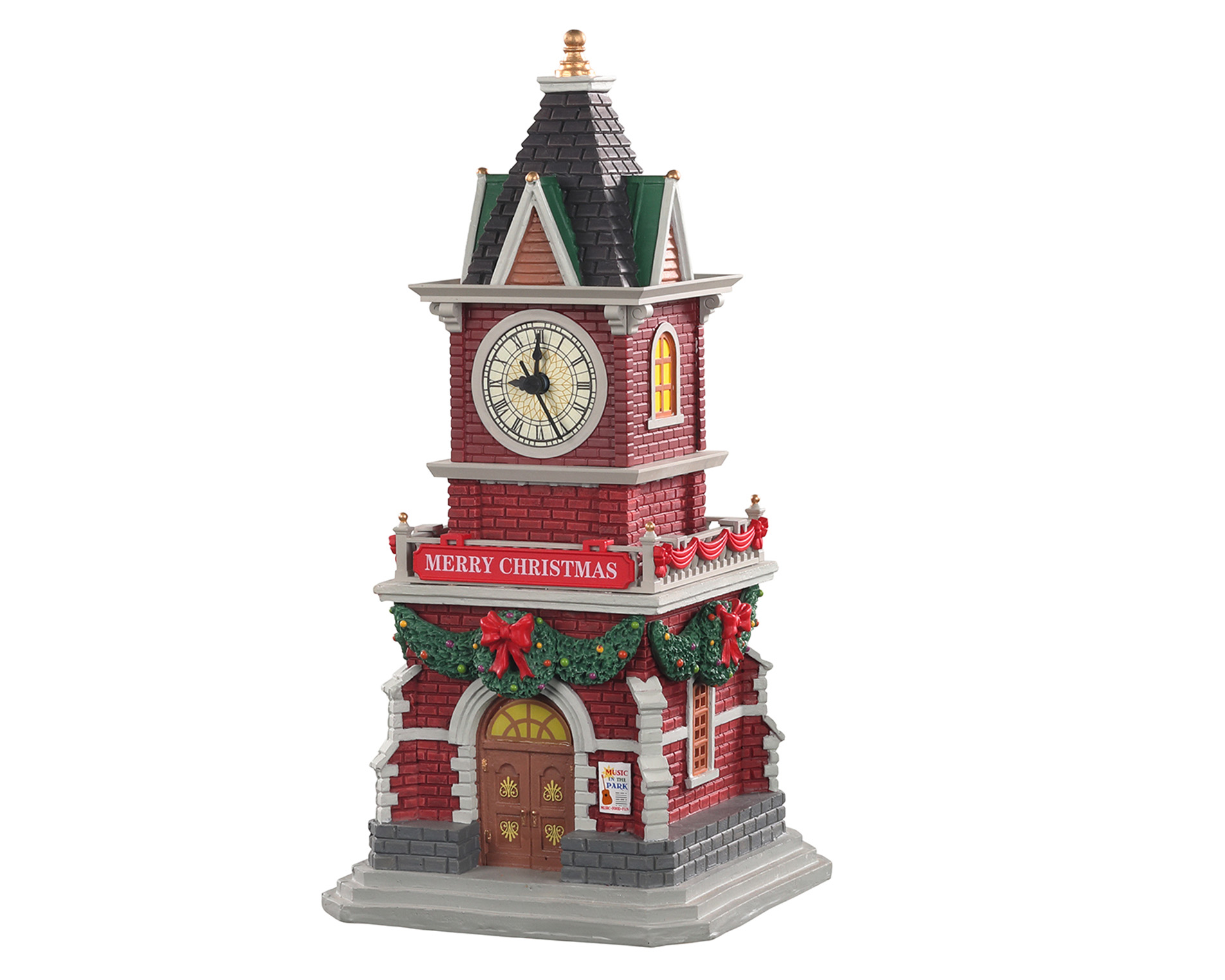 Lemax Village Collection Tannenbaum Clock Tower Battery Operated # 05679