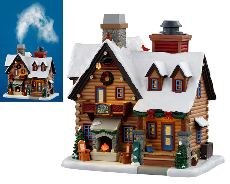 Lemax Village Collection Thicket Falls Cabin with Adaptor # 05698