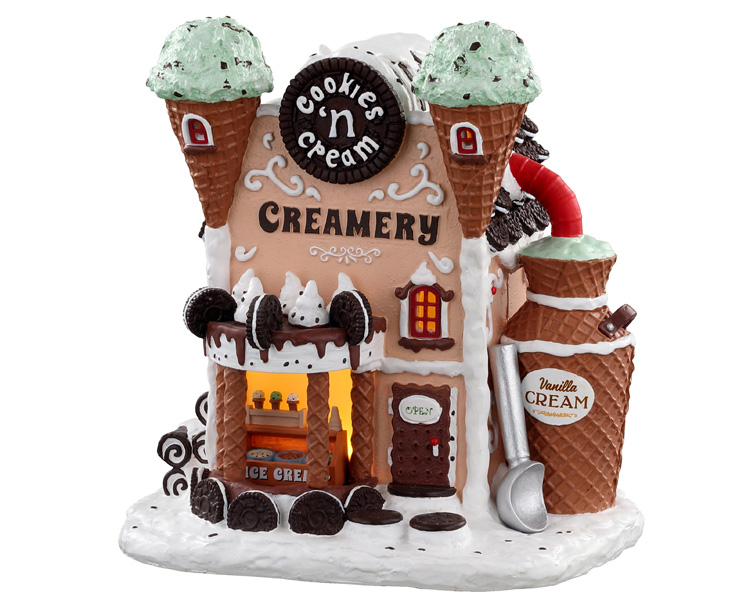 Lemax Village Collection Cookies 'N Cream Creamery Battery Operated # 05699