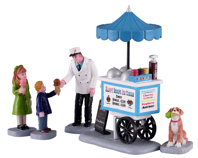 Lemax Village Collection Happy Scoops Ice Cream Cart Set of 5 # 12037
