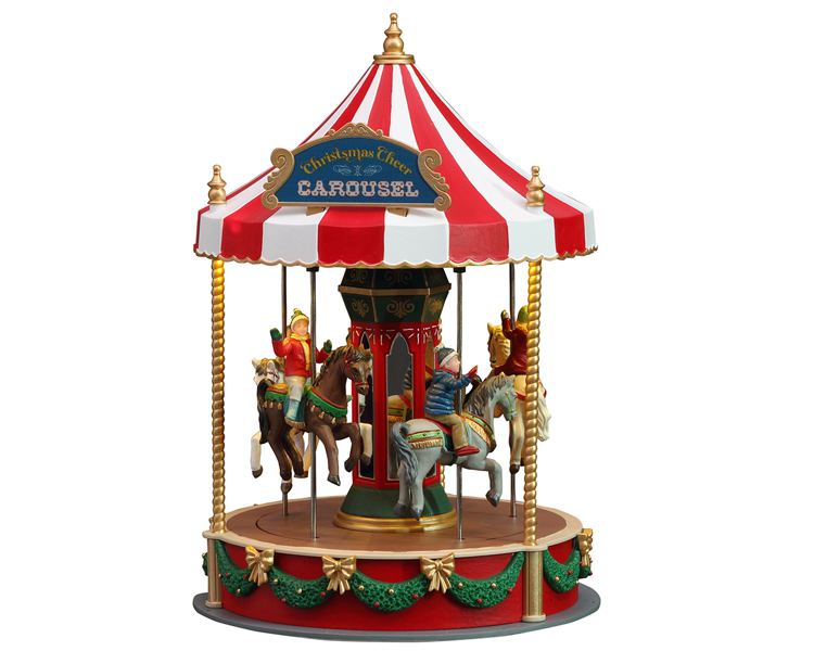Lemax Village Collection Christmas Cheer Carousel Battery Operated # 14821