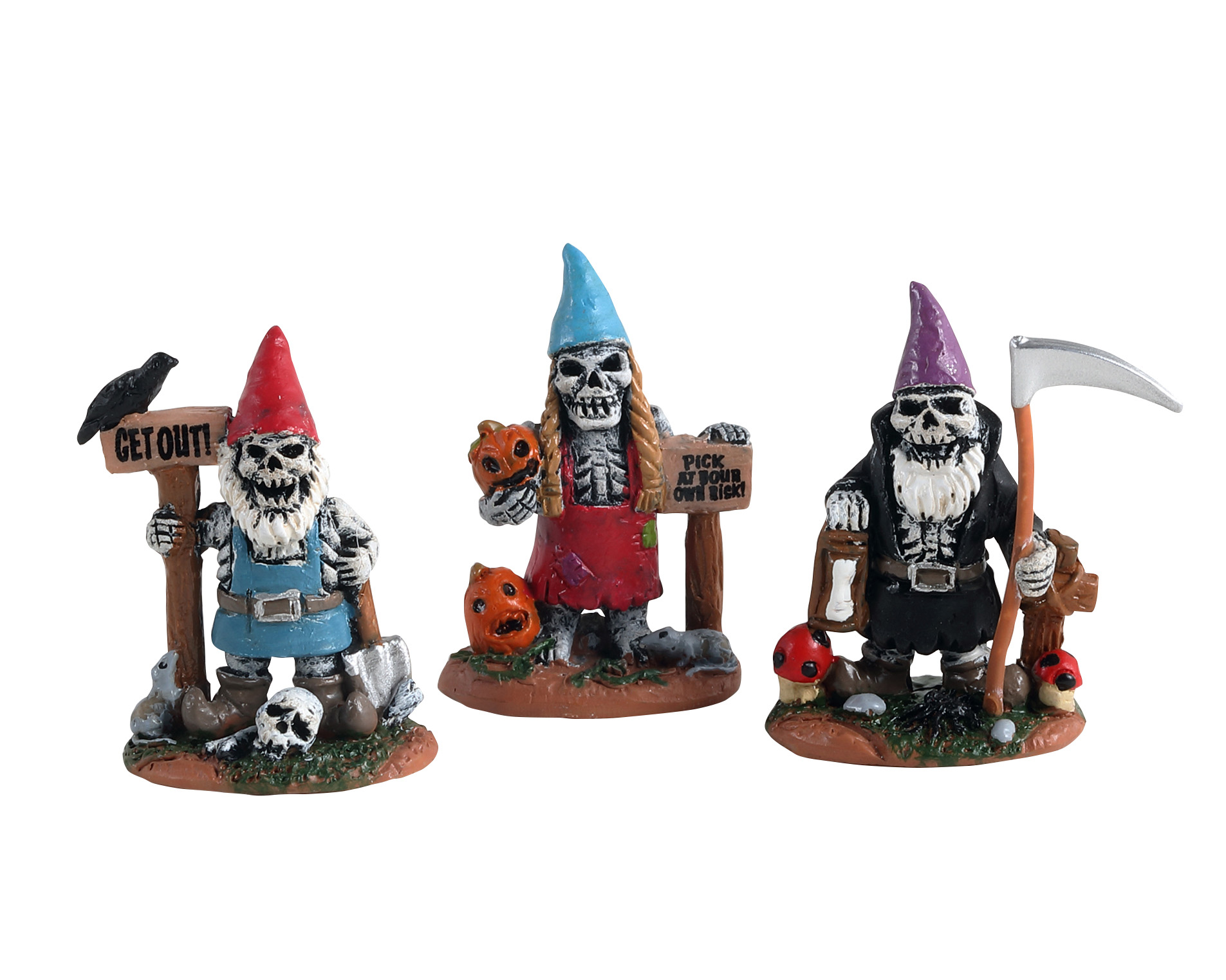 Lemax Spooky Town Skeleton Garden Gnomes Set of 3 # 14832