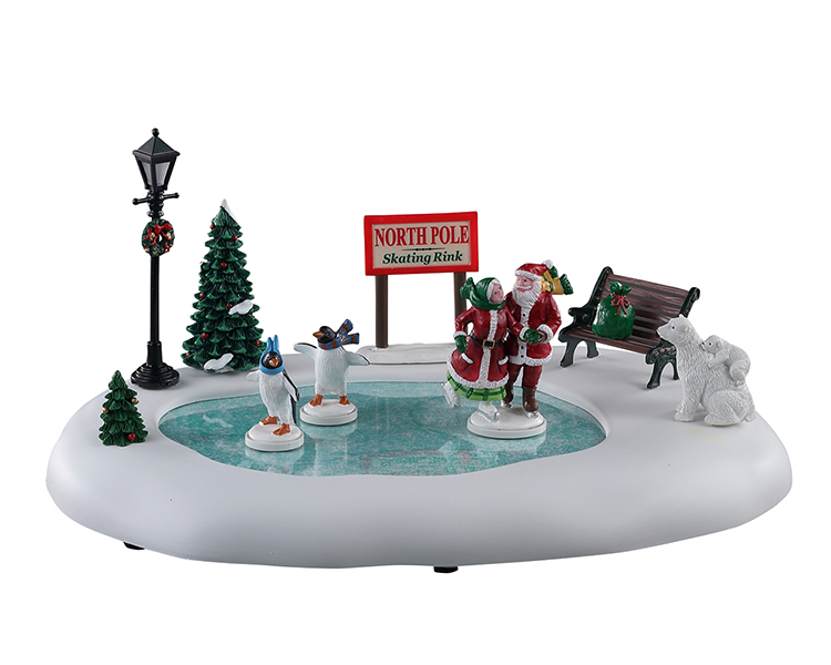 Lemax Village Collection North Pole Skating Rink Battery Operated # 14837