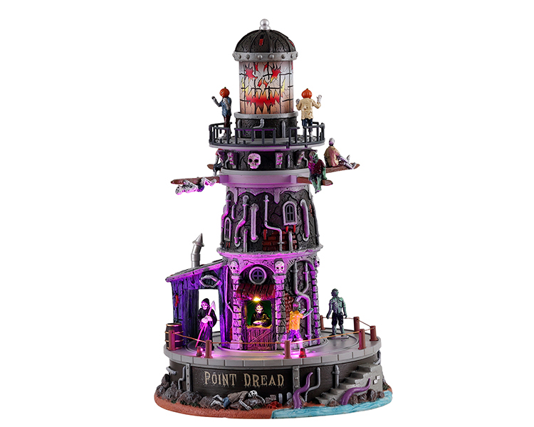 Lemax Spooky Town Point Dread Lighthouse with Adaptor # 15722