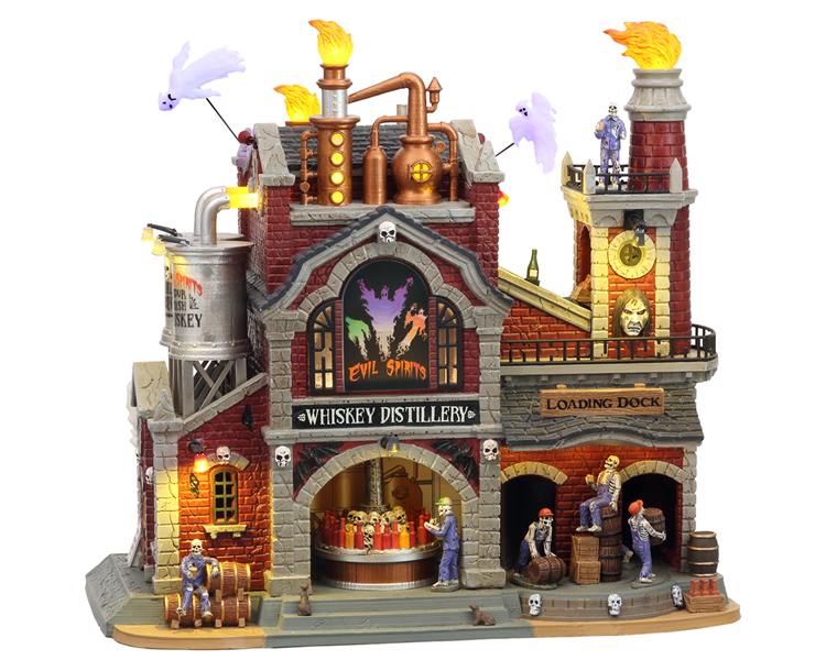 Lemax Spooky Town Evil Spirits Whiskey Distillery with Adaptor # 15723