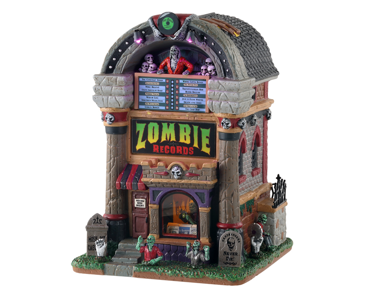 Lemax Spooky Town Zombie Records with Adaptor # 15726