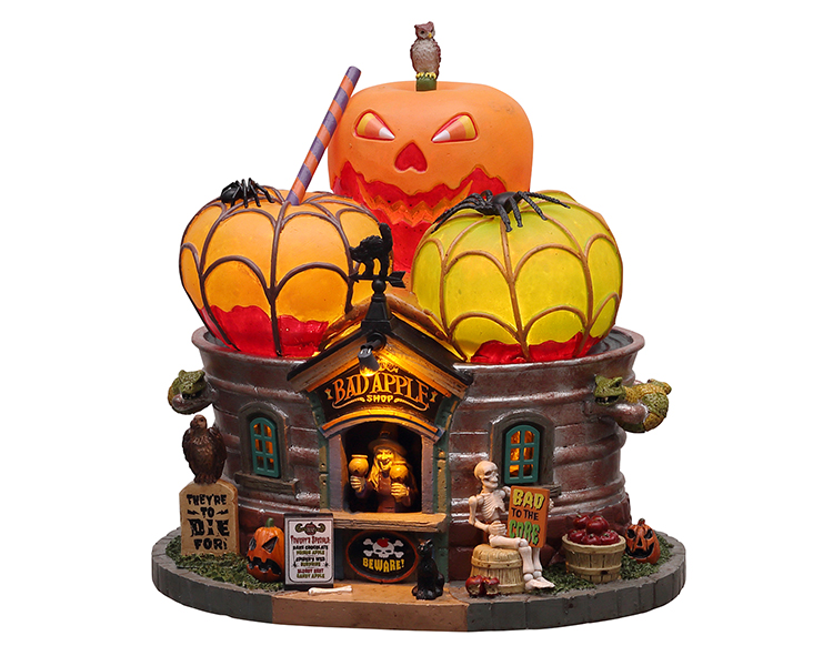 Lemax Spooky Town The Bad Apple Shop Battery Operated # 15728