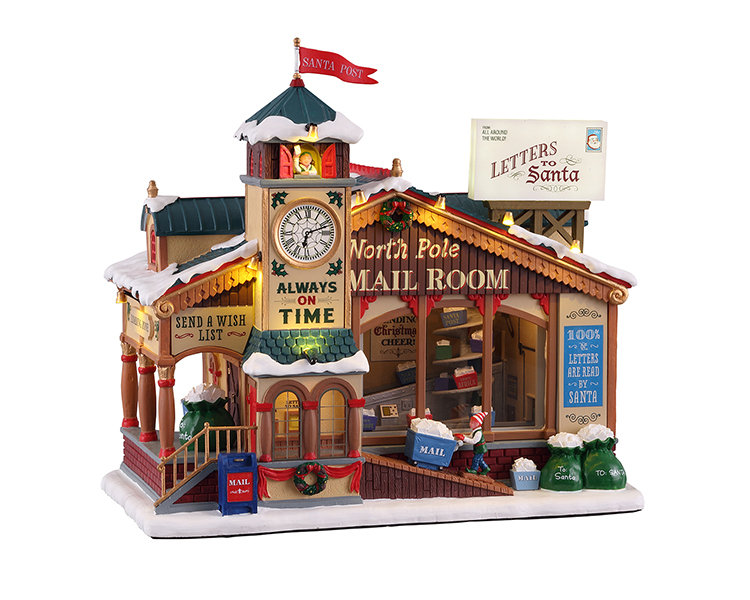 Lemax Village Collection North Pole Mail Room with Adaptor # 15733