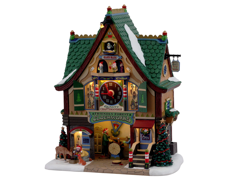 Lemax Village Collection Friendly Forest Clockworks with Adaptor # 15734