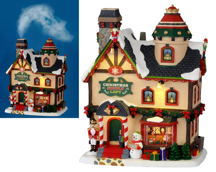 Lemax Village Collection Christmas Supply Loft with Adaptor # 15741
