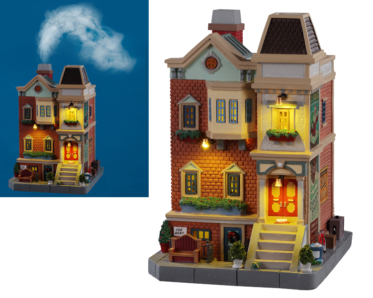 Lemax Village Collection Wester St Row House with Adaptor # 15744