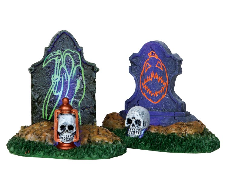 Lemax Spooky Town Backlit Tombstones Set of 2 Battery Operated # 24467
