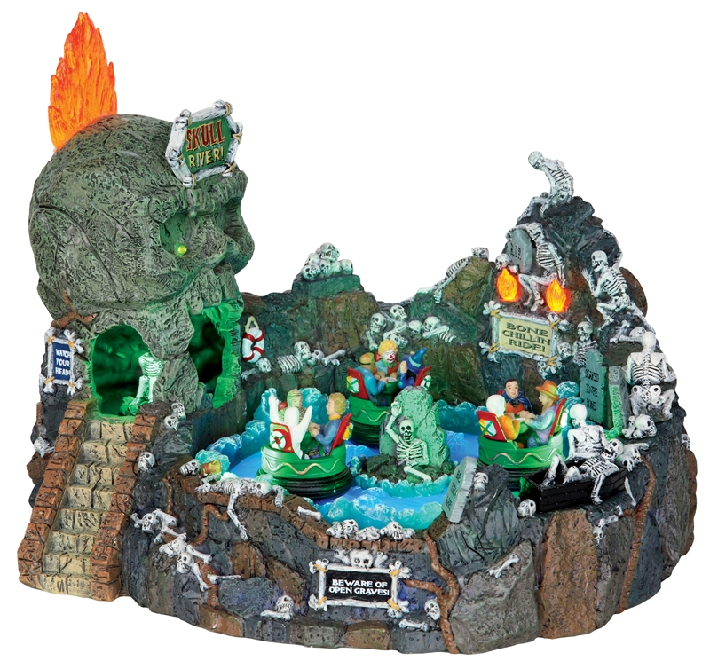 Lemax Spooky Town Skull River with Adaptor # 24469