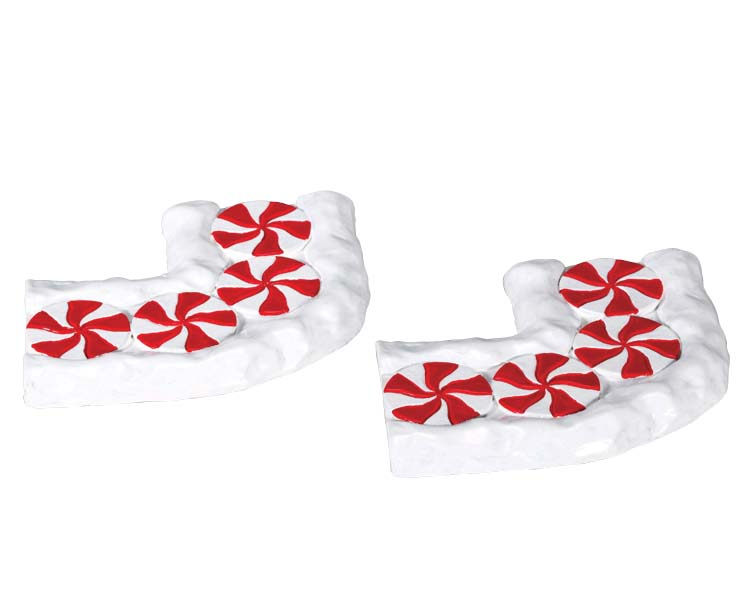 Lemax Village Collection Candy Cane Lane Curved Set of 2 # 74207