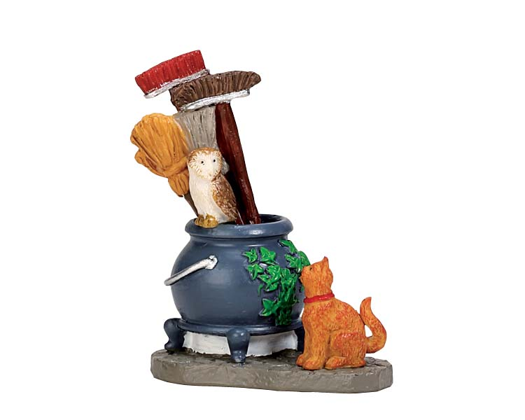 Lemax Spooky Town Cauldron Broom Holder # 74220