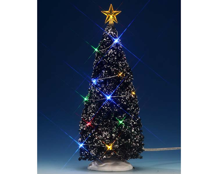 Lemax Village Collection Multi Color Light Evergreen Tree Large 9 inch Battery Operated # 74263