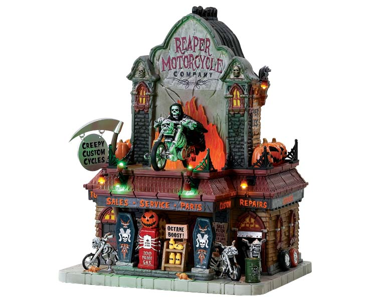 Lemax Spooky Town Reaper Motorcycle Co with Adaptor # 75174