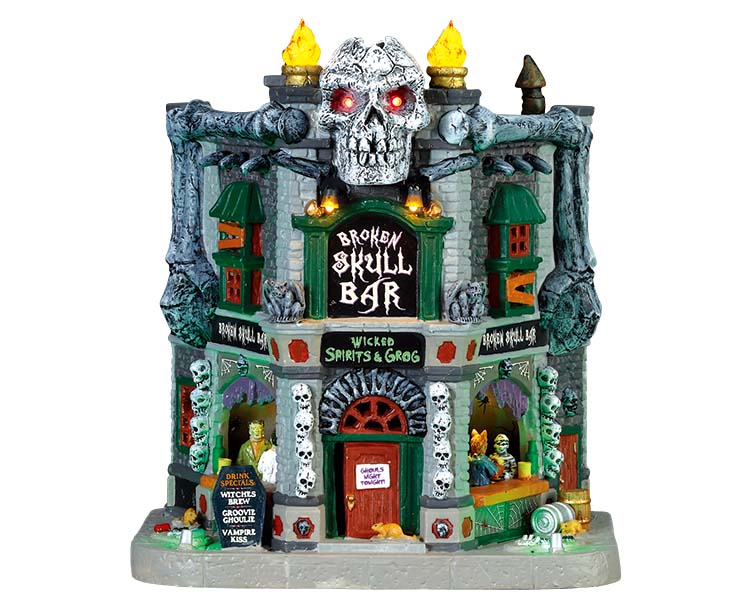Lemax Spooky Town Broken Skull Bar with Adaptor # 75176