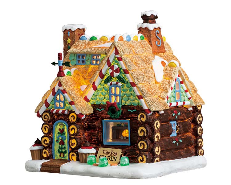 Lemax Village Collection Yule Log Cabin Battery Operated # 75178