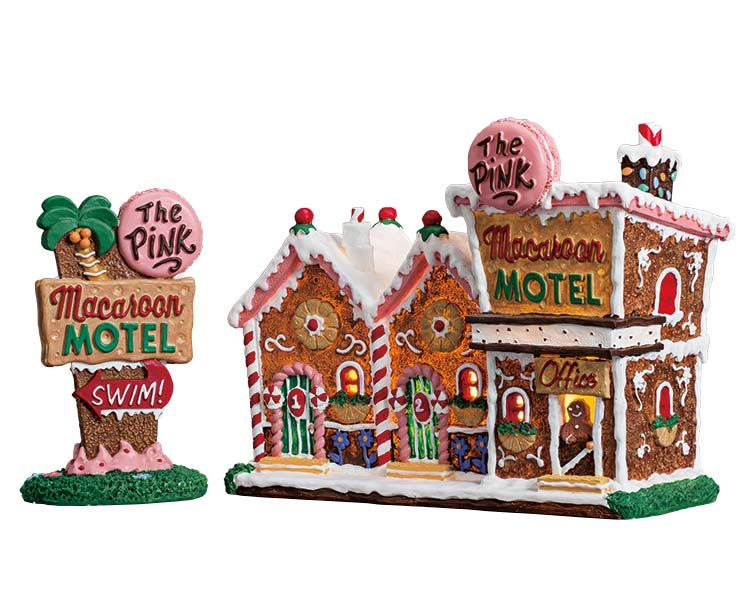 Lemax Village Collection The Pink Macaroon Motel Set of 2 Battery Operated # 75180